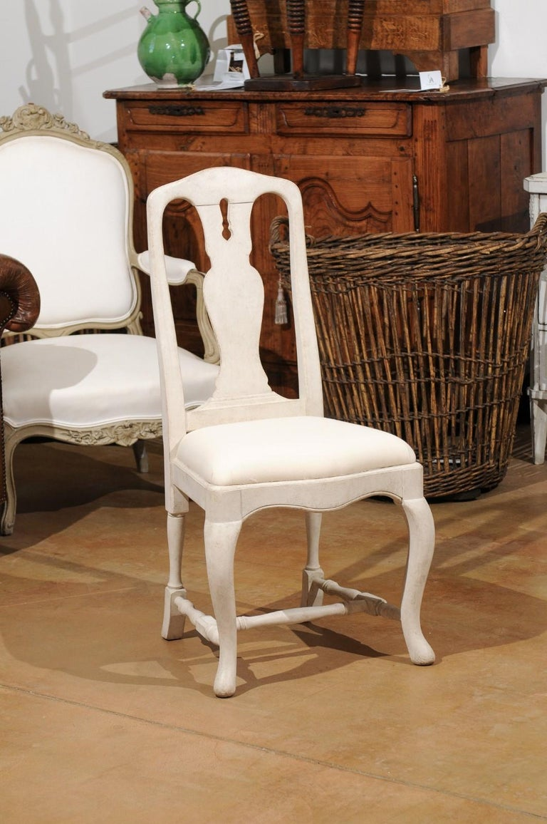 Contemporary Bespoke Swedish Baroque Style Painted Wood Upholstered Chair with Carved Splat For Sale