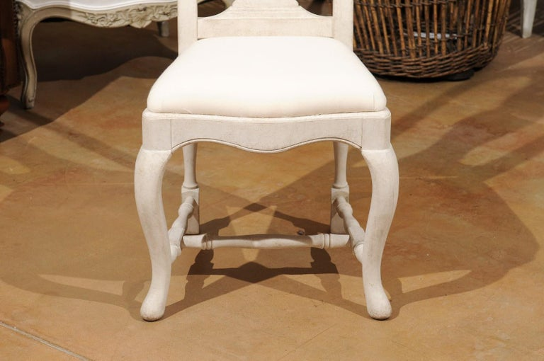 Bespoke Swedish Baroque Style Painted Wood Upholstered Chair with Carved Splat For Sale 1