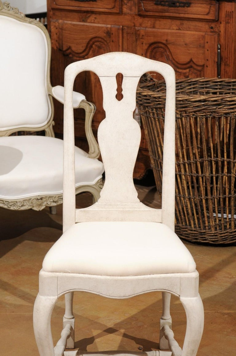 Bespoke Swedish Baroque Style Painted Wood Upholstered Chair with Carved Splat For Sale 2