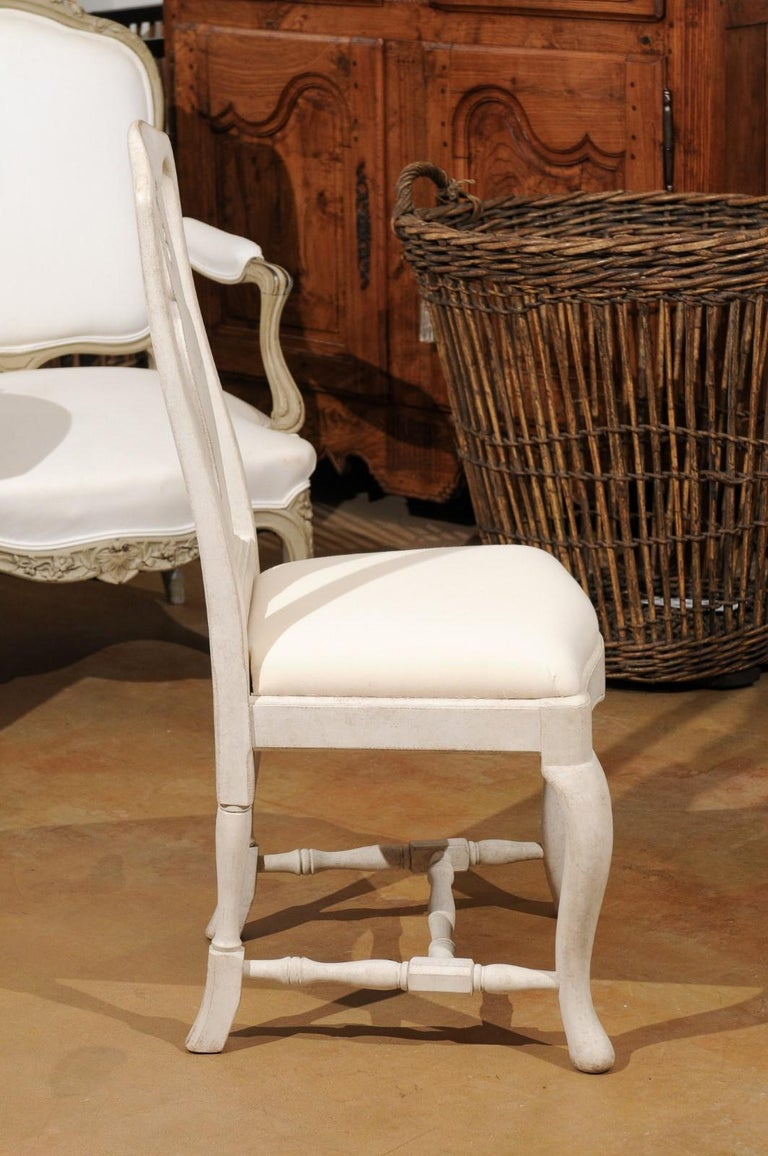 Bespoke Swedish Baroque Style Painted Wood Upholstered Chair with Carved Splat For Sale 3