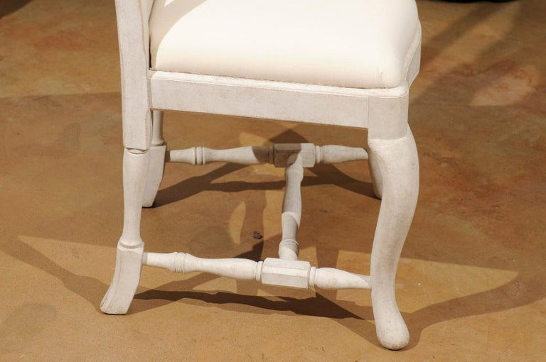 Bespoke Swedish Baroque Style Painted Wood Upholstered Chair with Carved Splat For Sale 4