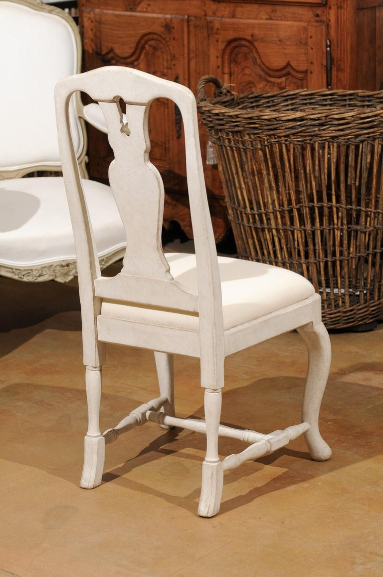 Bespoke Swedish Baroque Style Painted Wood Upholstered Chair with Carved Splat For Sale 5