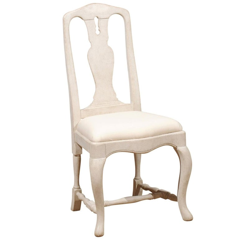 Bespoke Swedish Baroque Style Painted Wood Upholstered Chair with Carved Splat For Sale