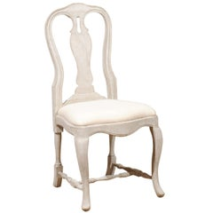 Bespoke Swedish Rococo Style Painted Wood Upholstered Chair with Cabriole Legs