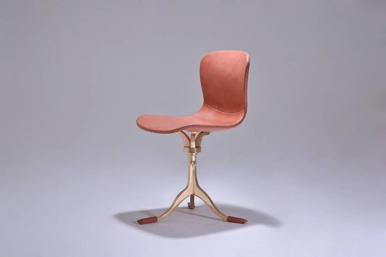 Bespoke Swivel Chair Leather And Hand Cast Bronze Base By