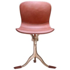 Bespoke Swivel Chair, Leather and Hand Cast Bronze Base by P. Tendercool