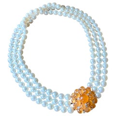 Bespoke Three Row Akoya Pearl Necklace with Diamond and Mandarin Garnet Clasp