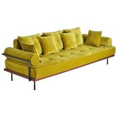 Bespoke, Three Seat Sofa, Reclaimed Hardwood, Solid Brass Frame by P. Tendercool