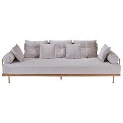 Bespoke Three-Seat Sofa with Brass and Reclaimed Hardwood Frame by P. Tendercool