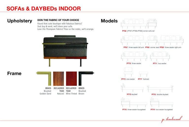 Bespoke Two-Seat Sofa, Brass & Reclaimed Hardwood Frame, P. Tendercool  For Sale 2