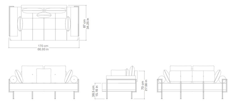 Bespoke Two-Seat Sofa, Brass & Reclaimed Hardwood Frame, P. Tendercool  For Sale 3