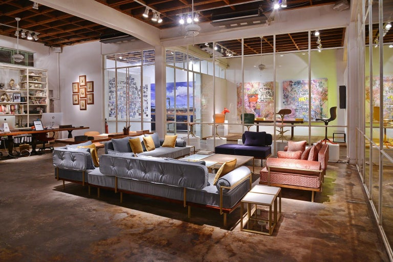 Bespoke Two-Seat Sofa, Brass & Reclaimed Hardwood Frame, P. Tendercool  For Sale 6
