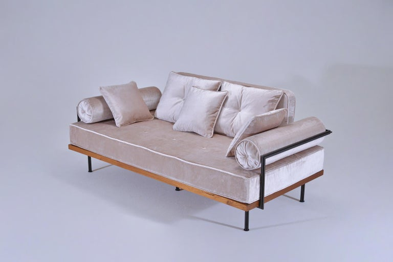 Mid-Century Modern Bespoke Two-Seat Sofa, Brass & Reclaimed Hardwood Frame, P. Tendercool  For Sale