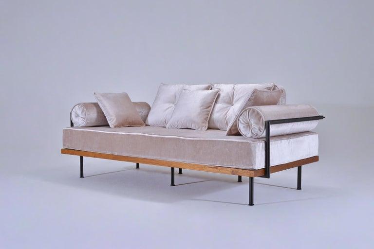 Thai Bespoke Two-Seat Sofa, Brass & Reclaimed Hardwood Frame, P. Tendercool  For Sale