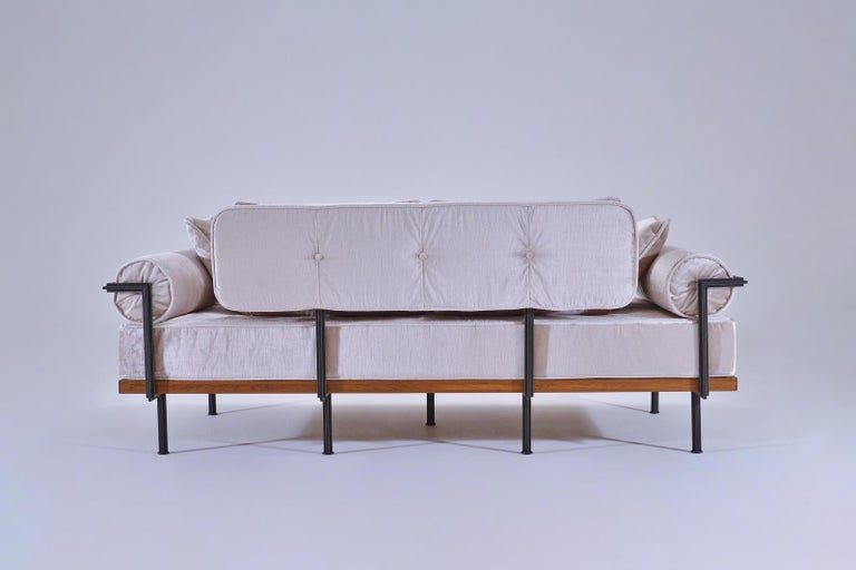 Hand-Crafted Bespoke Two-Seat Sofa, Brass & Reclaimed Hardwood Frame, P. Tendercool  For Sale