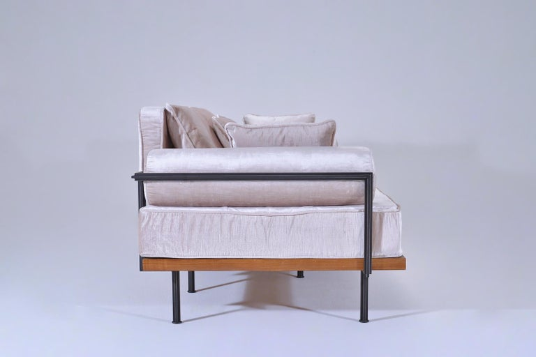 Contemporary Bespoke Two-Seat Sofa, Brass & Reclaimed Hardwood Frame, P. Tendercool  For Sale