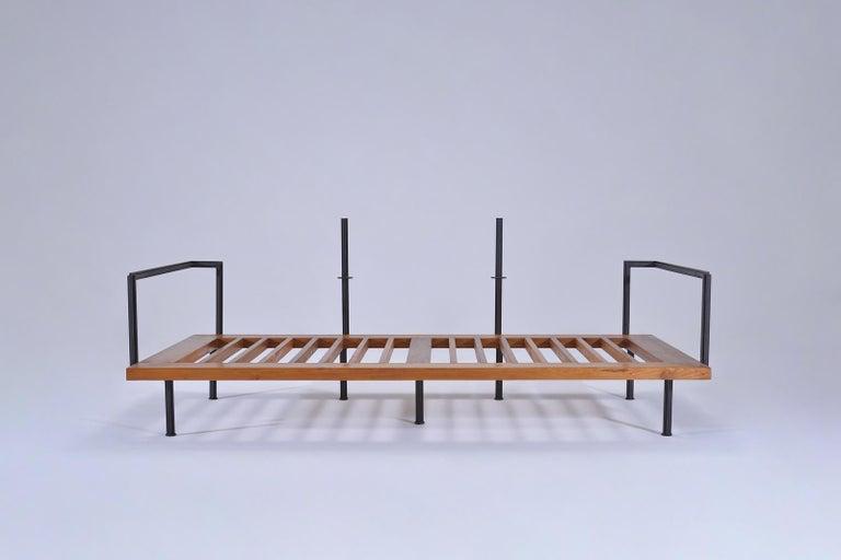 Bespoke Two-Seat Sofa, Brass & Reclaimed Hardwood Frame, P. Tendercool  For Sale 1