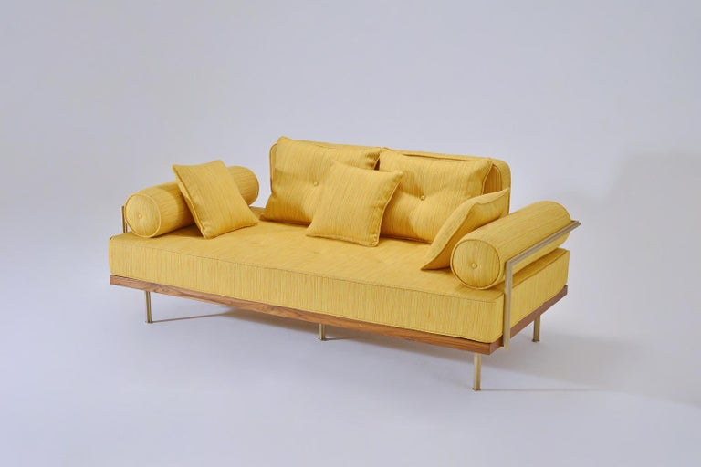 Available now  Model: PT71-BS1-TE-DO two-seat sofa Frame: Reclaimed hardwood Frame finish: Diamond oil Structure: Extruded and hand-welded solid brass rods Structure finish: Golden Sand Seat material: 100% latex Upholstery: JT Dido - Yellow