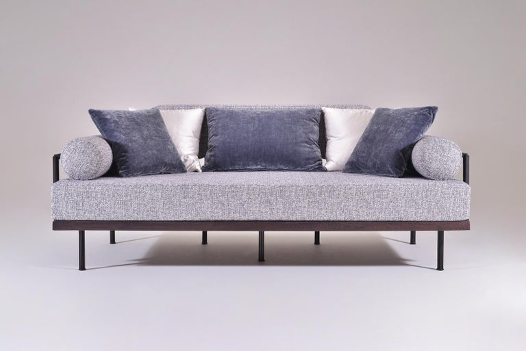Thai Bespoke Two-Seat Sofa in Reclaimed Hardwood and Brass Frame by P. Tendercool For Sale