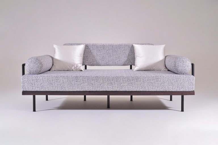 Hand-Crafted Bespoke Two-Seat Sofa in Reclaimed Hardwood and Brass Frame by P. Tendercool For Sale