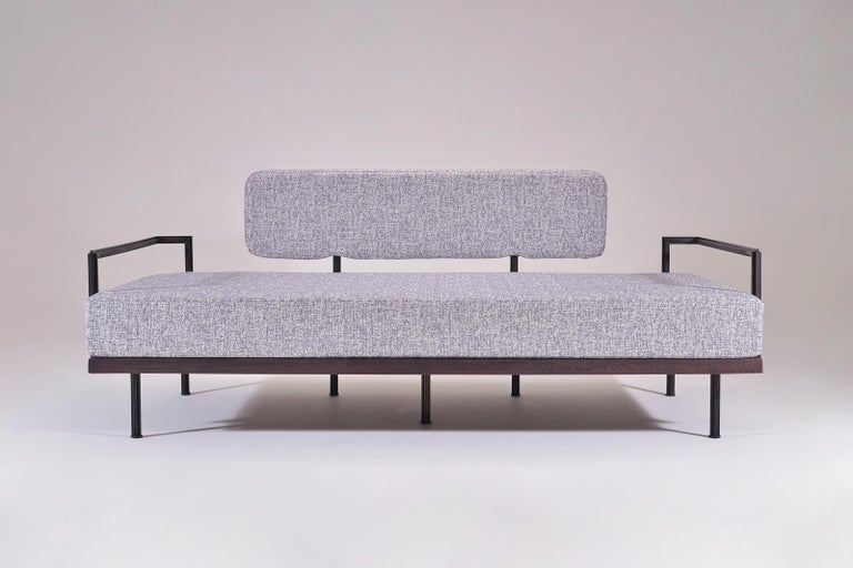 Contemporary Bespoke Two-Seat Sofa in Reclaimed Hardwood and Brass Frame by P. Tendercool For Sale