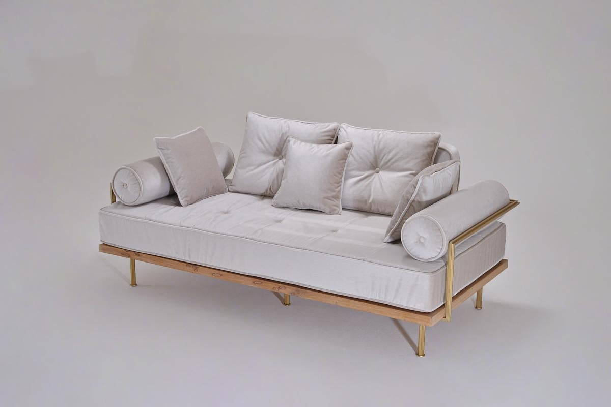 Bespoke Two Seat Sofa With Brass And Reclaimed Hardwood Frame By P.  Tendercool