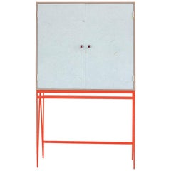 Bespoke White-Red Colour Play Storage Cabinet with Recycled Plastic Doors