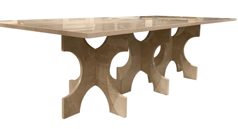 Bespoke Italian travertine dining table.