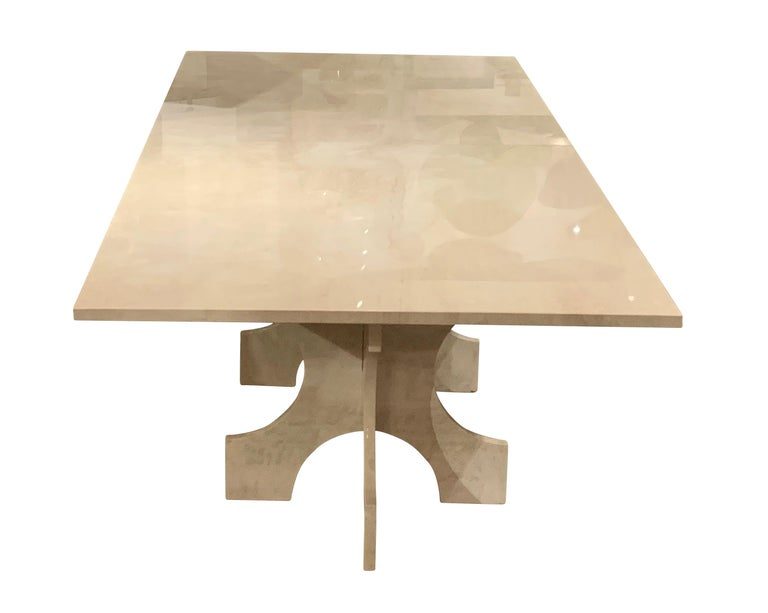 Polished Bespoke White Travertine Dining Table, United States, Contemporary For Sale