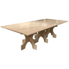 Bespoke White Travertine Dining Table, United States, Contemporary