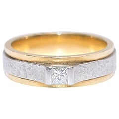 Bespoke Yellow Gold and Platinum Single Diamond Ring
