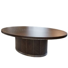 Modern Zebrano Veneered Oval Eight Seater Dining Table 2017
