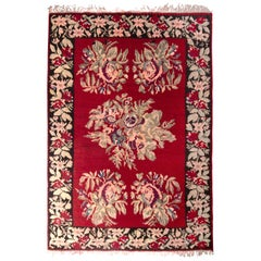 Bessarabian Handwoven Kilim with Red, Pink, Green Floral Medallion Pattern