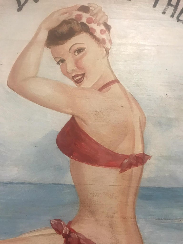 Best Buns on the Beach Contemporary Oil Painting, Signed In Good Condition For Sale In Los Angeles, CA