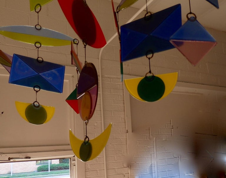 Best Hanging Glass Mobile by Michael and Francis Higgins For Sale 3