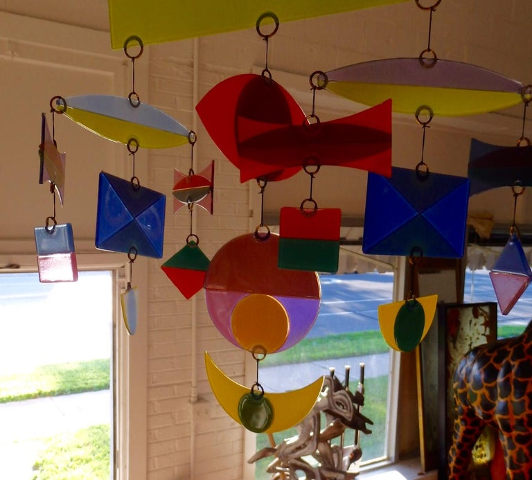 Hand-Crafted Best Hanging Glass Mobile by Michael and Francis Higgins For Sale