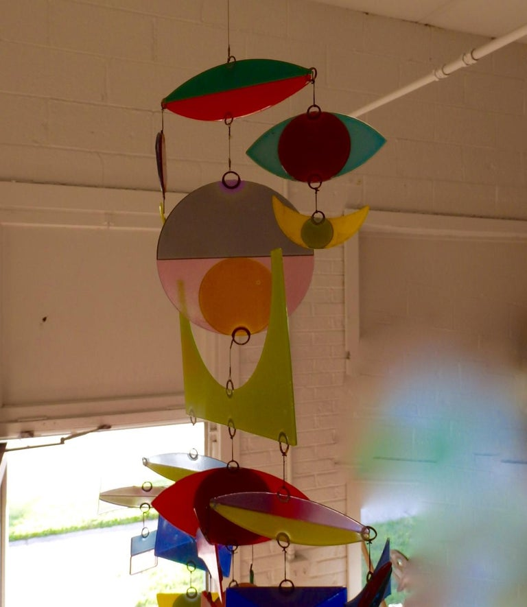 Best Hanging Glass Mobile by Michael and Francis Higgins In Excellent Condition For Sale In Ferndale, MI