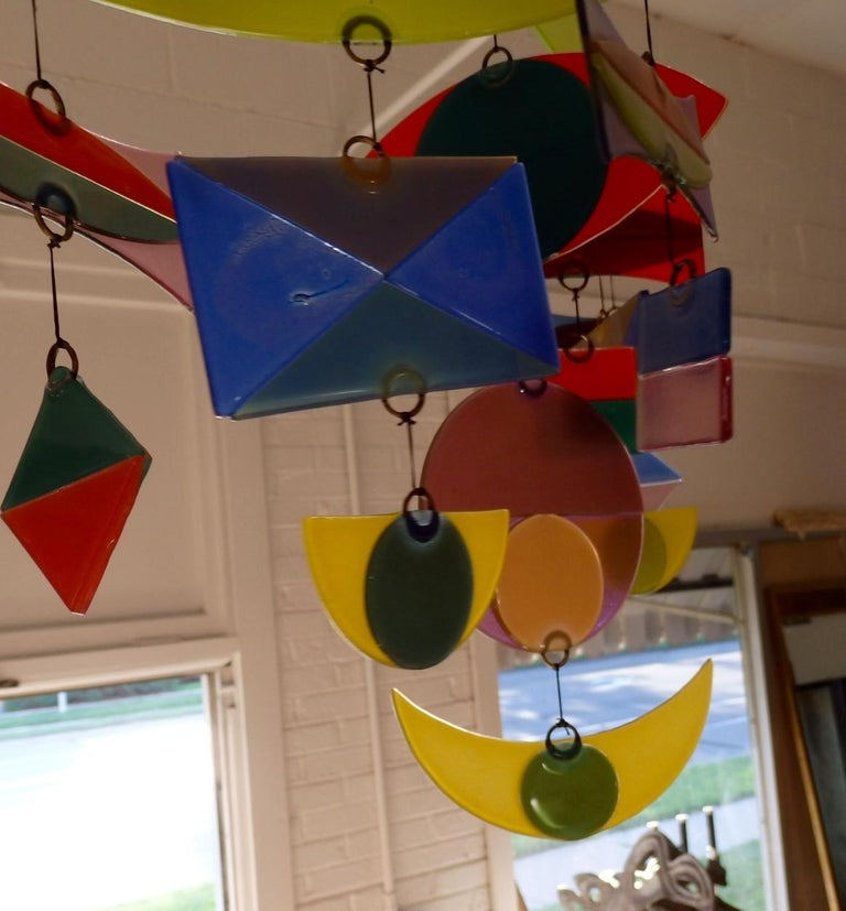 Best Hanging Glass Mobile by Michael and Francis Higgins For Sale 2