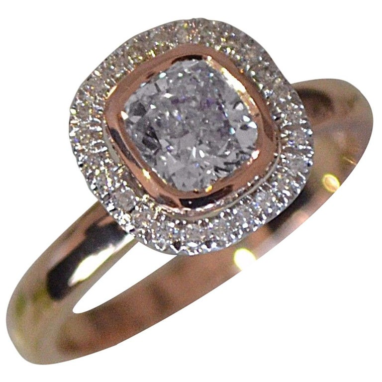 Best Ring, 1 Carat Center Round with Diamond Halo Set in 18 Karat Rose Gold For Sale