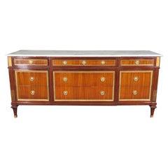 Best Signed Maison Jansen Marble-Top Mahogany Directoire Triple Dresser