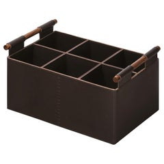Beta Rectangular Basket with Handles in Brown Leather