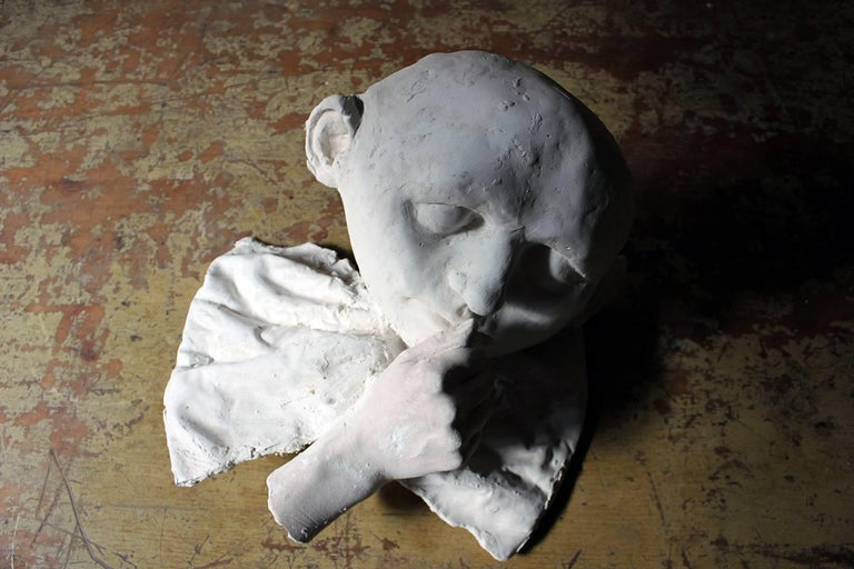 Hand-Carved Beth Carter, 'Young Clown Mask with Bow & Collar', Jesmonite and Plaster, Unique For Sale