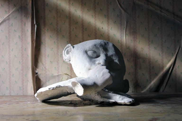 Beth Carter, 'Young Clown Mask with Bow & Collar', Jesmonite and Plaster, Unique In Excellent Condition For Sale In Bedford, Bedfordshire