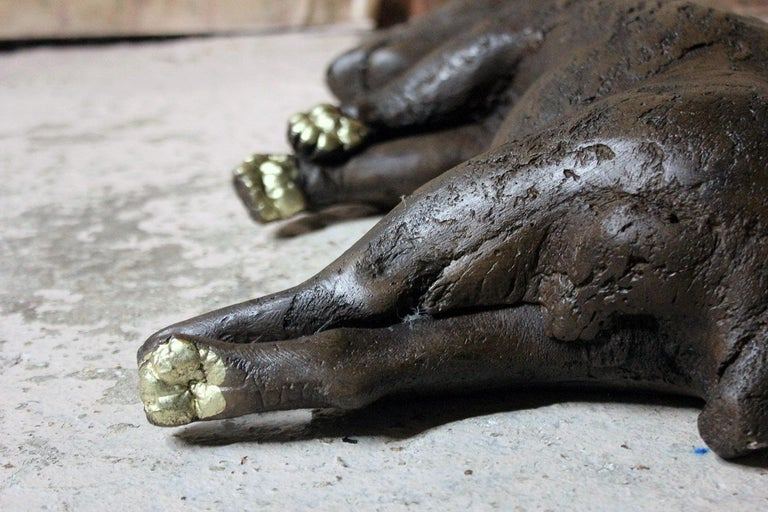 Beth Carter, Badger, Bronze Resin and Gilded Paws, 2010, Edition 2 of 15 For Sale 4
