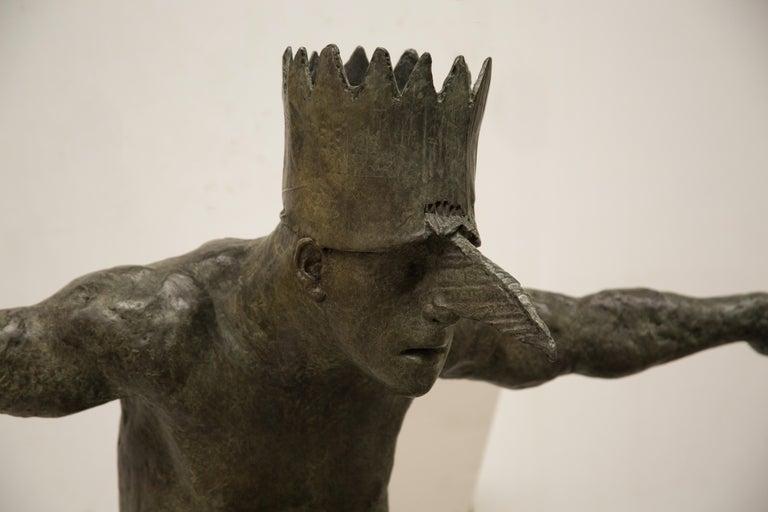 King of the Birds, bronze sculpture - Sculpture by Beth Carter