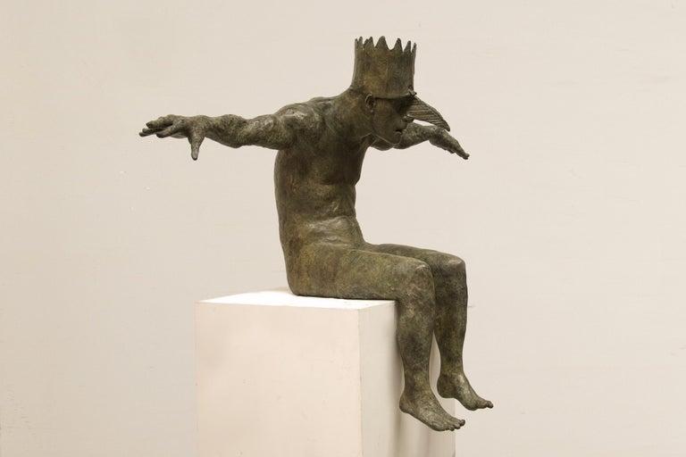 Beth Carter Figurative Sculpture - King of the Birds, bronze sculpture