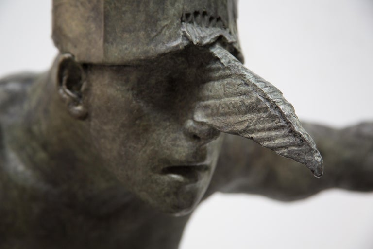 King of the Birds, bronze sculpture - Gray Figurative Sculpture by Beth Carter