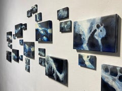 "'Crue"" multi-panel abstract painting installation, indigo pigment (water, flood)"