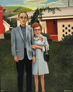 Jewish American Gothic, Homage to Grant Wood, Original Oil on Panel, Framed