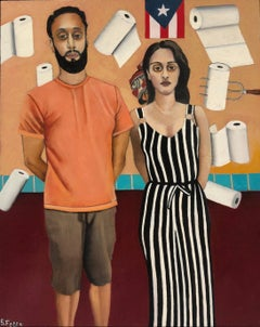 Puerto Rican American Gothic, Homage to Grant Wood, Oil on Panel, Framed